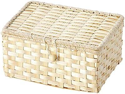 ちどり産業(Tidorisangyou) バスケット ホワイト 18X14Xh9cm 竹バスケット 25-28