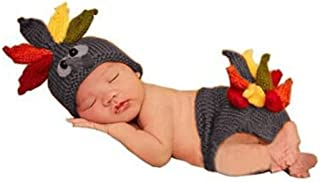 Eyourhappy Handmade Photography Prop Baby Infant Costume Turkey Crochet Knitted Hat and Diaper