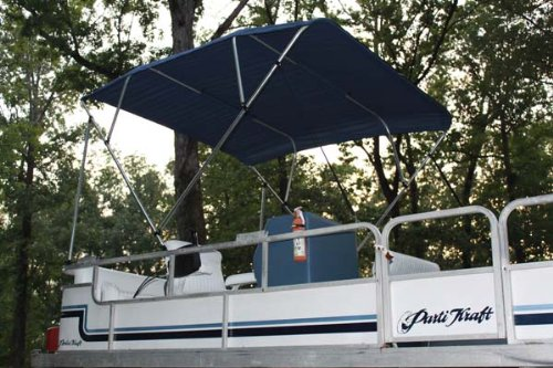 """Vortex New Navy Blue Pontoon/Deck Boat 4 Bow Bimini Top 10' Long, 97-103"""" Wide, 54"""" High, Complete Kit, Frame, Canopy, and Hardware 1 to 4 Business Day DELIVERY"""