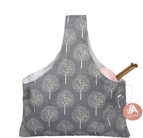 Knitting Tote Bag Yarn Storage Organizer for Large Projects, Gray Tree (Large)