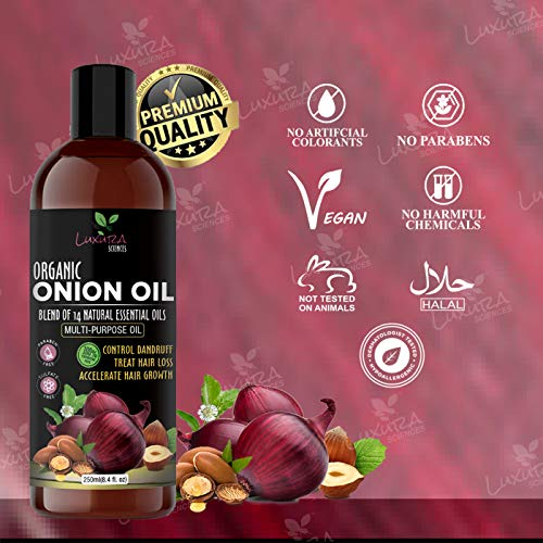Luxura Sciences Onion Hair Oil For Hair Growth 500 ML(250ML*2) with 14 Essential Oils,Hair Growth Oil/Serum with Argan Oil, Bhringraj, Hibiscus, Sesame,Amla,Sweet Almond, Olive and more.