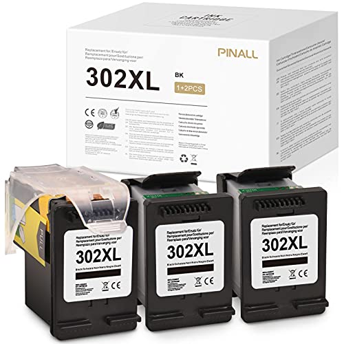 PINALL Compatible con HP 302XL 302 XL para HP DeskJet 3632 3630 OfficeJet 3830 OfficeJet 4650 4652 4655 AIO Envy 4510 4512 4516 4520 4522 (1+2 negro)