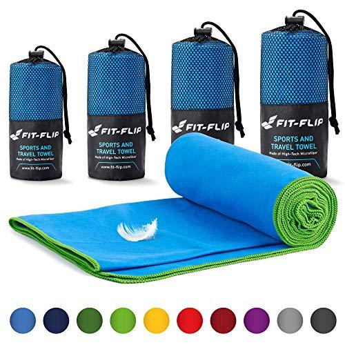 Fit-Flip Mikrofaser Handtücher Set – in Allen Größen / 18 Farben – Handtuch Mikrofaser – das perfekte Trainingshandtuch, Travel Towel, Strandtuch (Set1: 70x140cm + 40x80cm, Blau mit Grünen Rand)