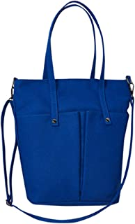 Wultia - Bags for Women Fashion Girls Canvas Solid Color Multi-Pocket Shoulder Bag Messenger Bag Bolsa Feminina Blue