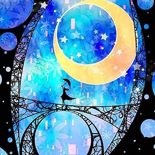 Pintura por Números,Sin marco _ Chica de la noche estrelladaSin marcoPintura al óleo Kit con Pinceles y Pinturas, Sin marcoLienzo Regalo de Pintura para Adultos Mayores Sin marco40x40cmSin marco _