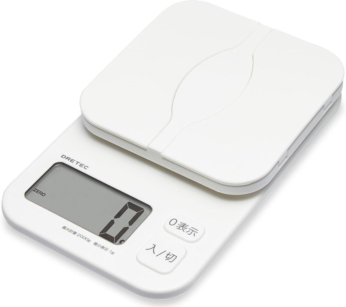 バンド住居ハイキングに行くdretec(ドリテック) キッチンスケール デジタル 計量皿が開く パカット 2kg/1g単位 風袋引き KS-257WT(ホワイト)
