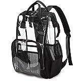 Heavy Duty Clear Backpack for Men Women, School Bag Bookbag PVC Plastic Transparent Backpacks for Boys Girls (Black)