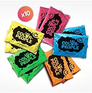 Color People 10 Sachets De Poudre Colorée Holi, Assortiment De Couleurs