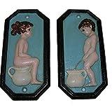 Set WC nostálgica placa de hierro puerta cartel Niño/Niña Hombre/Mujer