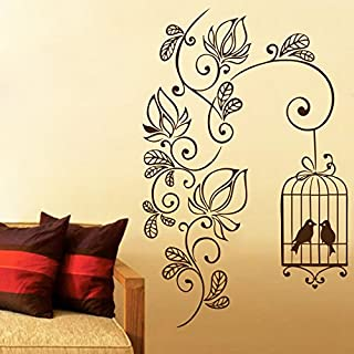 DECOR Kafe Home Decor Flowering Branch with Bird Cage Wall Sticker, Wall Sticker for Bedroom, Wall Art, Wall Poster (PVC V...