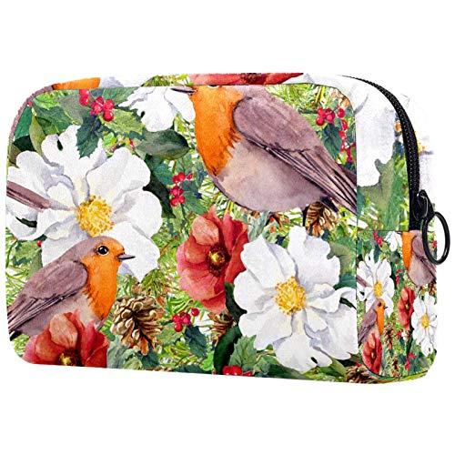 Borse per il trucco Custodia multifunzione per organizer per cosmetici da viaggio portatile Abete rami rami vischio fiori invernali uccelli robin con borse da toilette con cerniera per donna