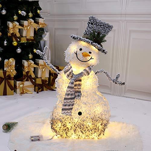 SJTL Eisen Rahmen Rentier Weihnachtsbaum Schneemann mit Schlitten LED Beleuchtet Funkeln Warm Weiß Metall Weihnachten Deko für Innen Außen Weihnachtsschmuck Weihnachtsdekorationen,Snowman
