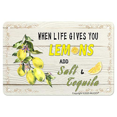 """ANJOOY When Life Gives You Lemons Add Salt Tequila - Tin Sign Vintage Metal Funny Wall Art Decor for Country Kitchen Bar Home Fruit Market Farm Restaurants Garage Plaque(8""""x12"""")"""