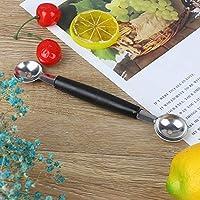 キッチンミニステンレス鋼双頭スイカマスクメロンスプーンディグボールアイスクリームスクープフルーツサラダツール