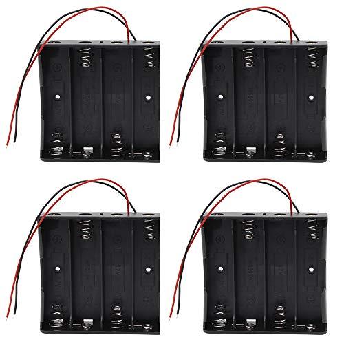 4 Piezas 18650 Batería Estuche Tándem Batería de Litio con Wire Leads para Fácil Soldarlo y Conectar (4 Caja)