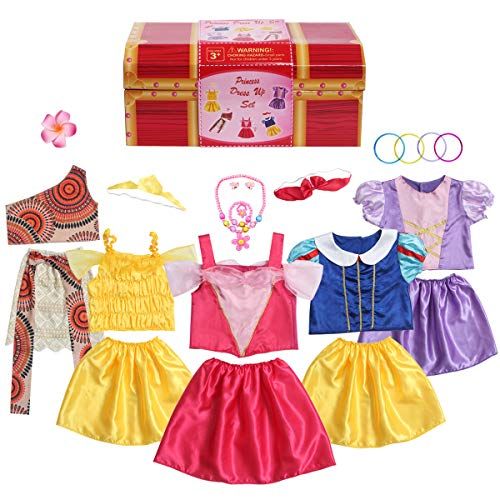 BiBiblack Girls Princess Costume Dress up Trunk for Kids Ages 3-6 Years (3-6 Years- Girls Dress up...