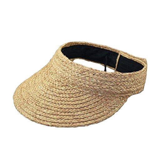 Gaeruite Sombrero de paja plegable para playa, abierto, para niñas, mujeres, ajustable, ancho, con pajita enrollable, visera para el sol, caqui, as show