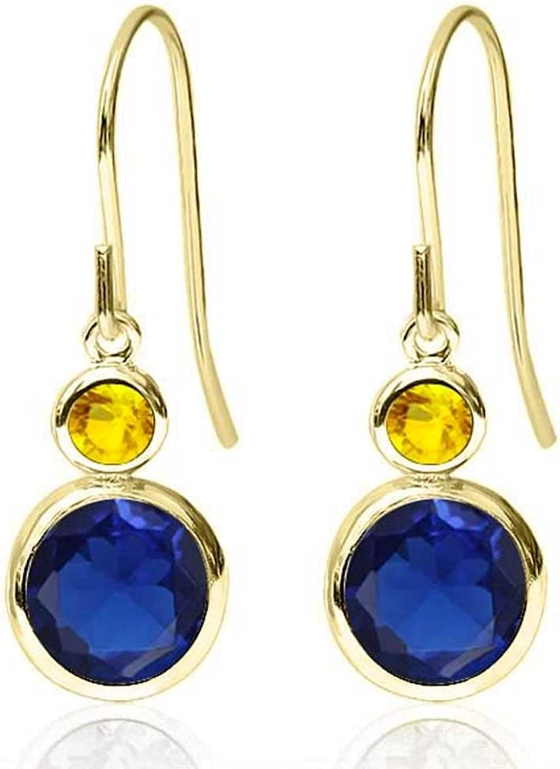 2.26 Ct Round bluee Simulated Sapphire Yellow Sapphire 14K Yellow gold Earrings