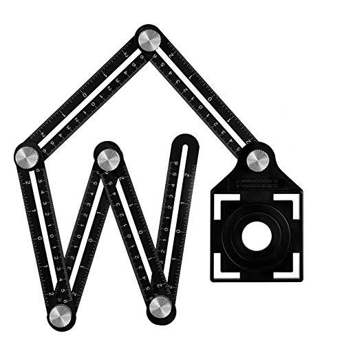 Winkelschablone Template Tool Multi-angle Winkelmesser Lineal Metall Winkel Werkzeug Verstellbarer Konturenlehre Schablonen Messgerät für Tischler Fliesenleger Pflastern Loch (6 sides)