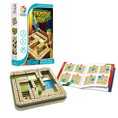 SmartGames Temple Trap Cognitive Skill-Building Travel Game with Portable Case Featuring 60 Challenges for Ages 7 - Adult
