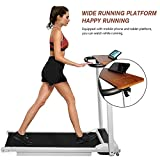 DKLGG Folding Electric Treadmill, Portable Household Treadmill, with Remote Control and Bluetooth Speaker & LCD Monitor, Exercise Fitness Machine for Home/Office Use, Ivory White