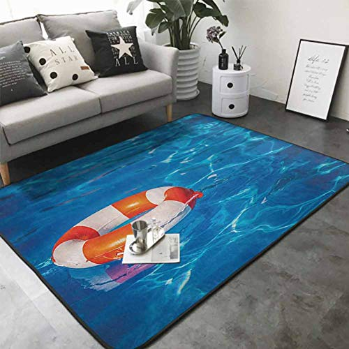 Bathroom Carpet Life Buoy in Crystal Clear Swimming Pool Summer Relaxing Vacation Sports Theme 80'x 96' Modern Area Rug with Non-Skid
