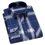HDDFG Hombres Primavera Otoño 45% Algodón Camisa a cuadros en blanco y negro Camisas delgadas de manga larga transpirables saludables ocasionales (Color : C, Size : M code)