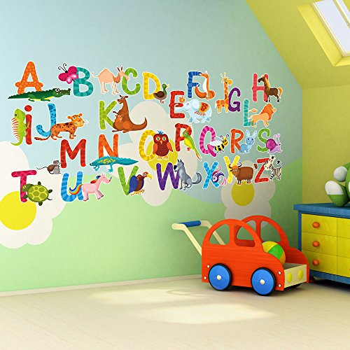 26 Individual Alphabet Animals Self-adhesive Wall Art Stickers - Large 14cm Letter