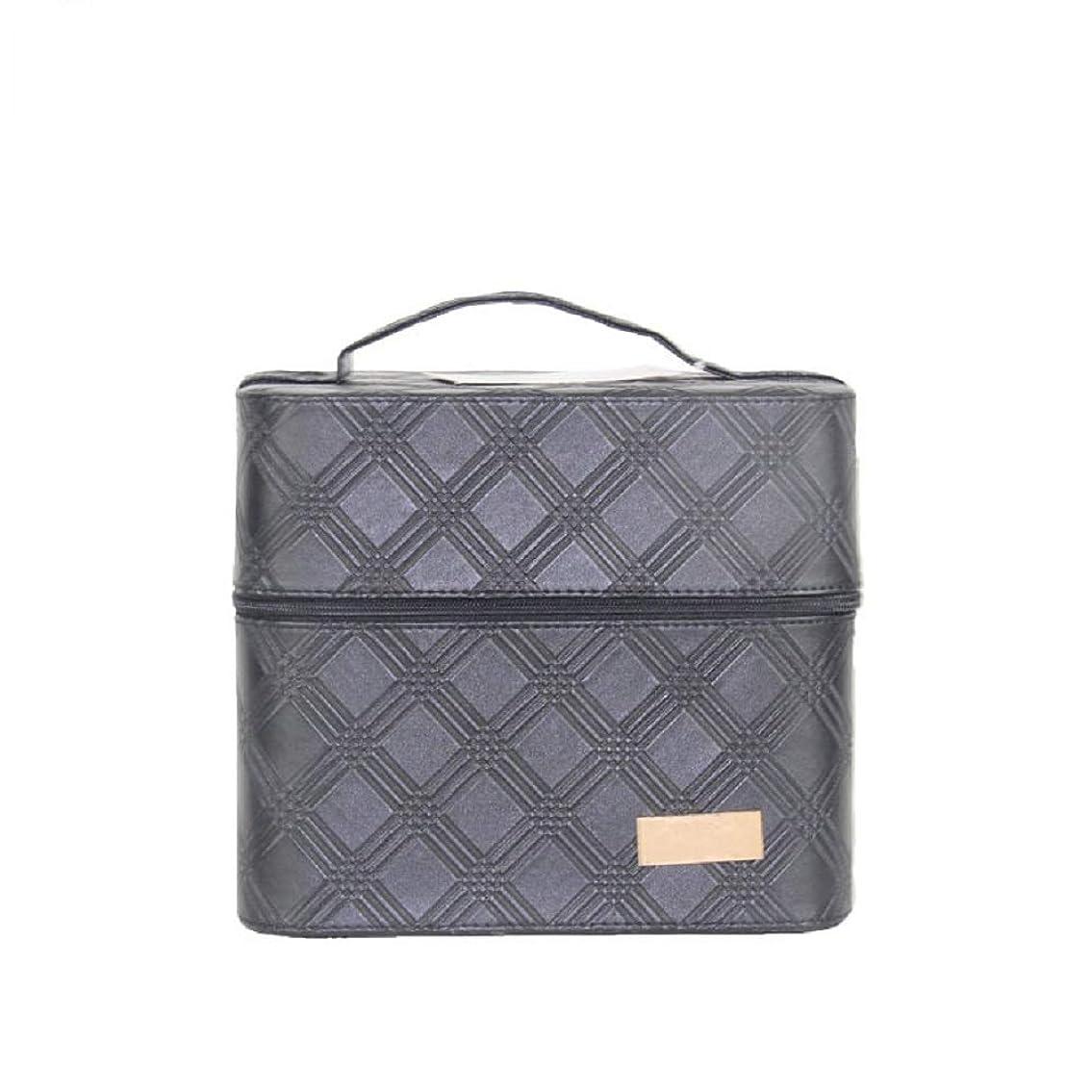 無駄に高潔な圧力化粧オーガナイザーバッグ ジッパーと2つのトレイで小さなものの種類の旅行のための美容メイクアップのための黒のポータブル化粧品バッグ 化粧品ケース