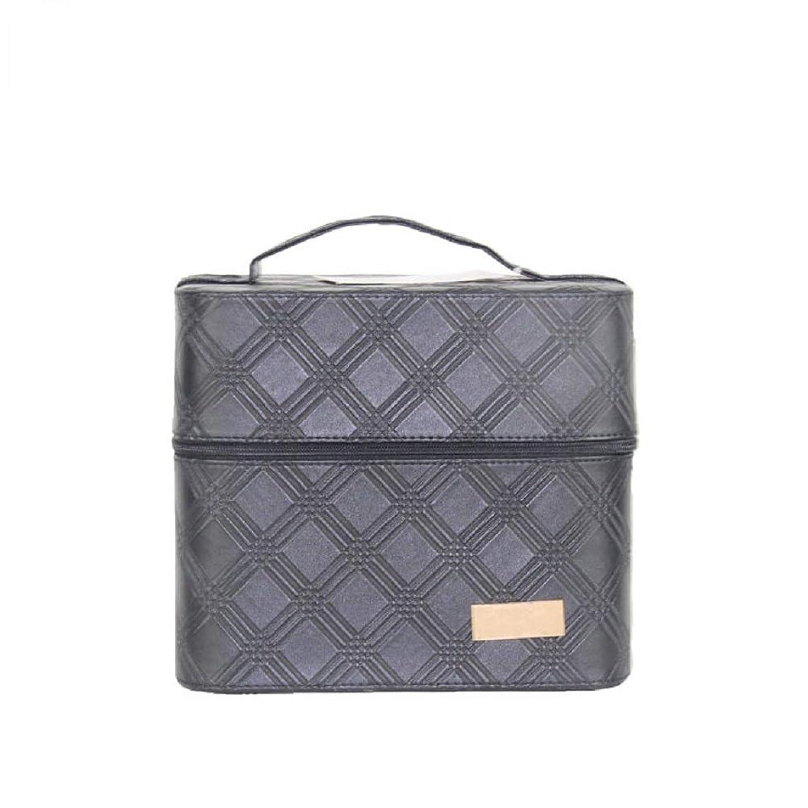 欺く冷える有罪化粧オーガナイザーバッグ ジッパーと2つのトレイで小さなものの種類の旅行のための美容メイクアップのための黒のポータブル化粧品バッグ 化粧品ケース