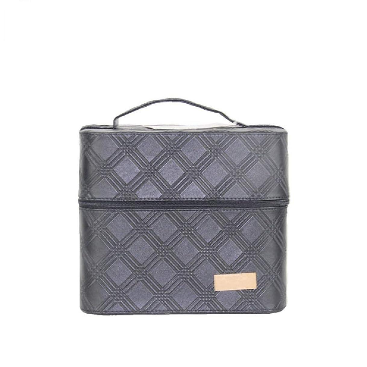 カメラいちゃつくアスペクト化粧オーガナイザーバッグ ジッパーと2つのトレイで小さなものの種類の旅行のための美容メイクアップのための黒のポータブル化粧品バッグ 化粧品ケース
