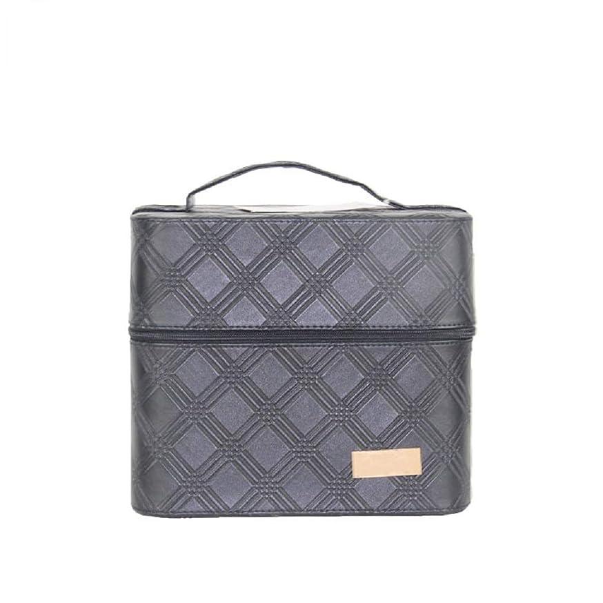 石膏無声でせせらぎ化粧オーガナイザーバッグ ジッパーと2つのトレイで小さなものの種類の旅行のための美容メイクアップのための黒のポータブル化粧品バッグ 化粧品ケース