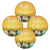 Happy Easter Eggs Flowers - Juego de 1 manteles individuales redondos resistentes al calor, lavables a prueba de manchas y antideslizantes de poliéster para decoración de cocina y comedor