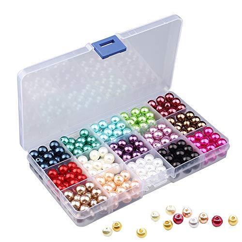 Perline Colorate, 1500 pezzi 6 mm Perline di Rotonda Assortiti Perline Creare Gioielli, Rotondi Perle di Vetro Assortimento di Colori Mix per Creazione di Gioielli