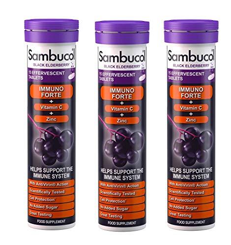 Sambucol Three Packs Of Immuno Forte Effervescent Tablets 15S