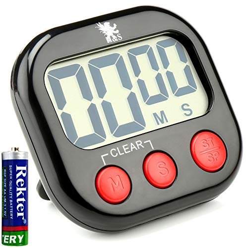 H&S Kitchen Timer Digital Cooking Timer Magnetic Countdown Clock Large LCD Screen Loud Alarm - Black