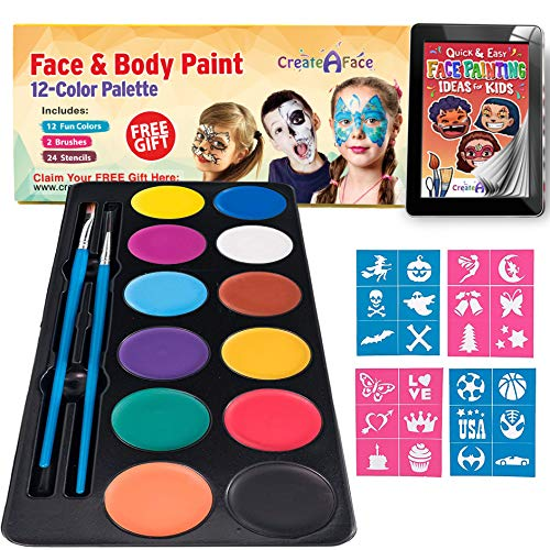Face Paint Kit for Kids - Vibrant Face Painting Colors, Stencils & 2 Cosmetic Brushes - Body Paint Face Painting Kits - Video Tutorials & eBook - Fun, Easy to Use, Non-Toxic & Safe (12-Color Palette)