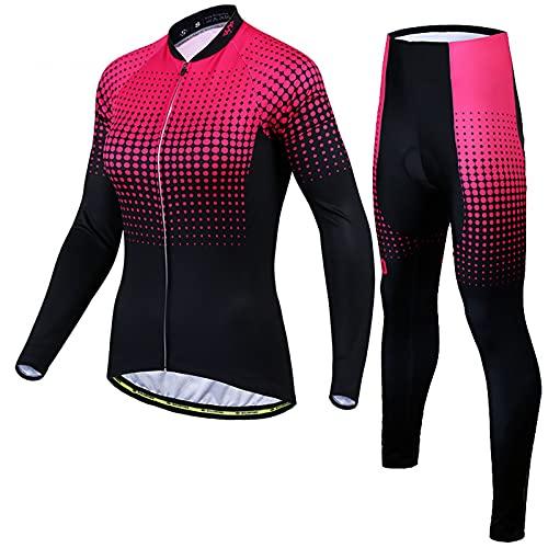 7HAHA3 Maglia da Ciclismo da Donna Fleece Thermal MTB Slim Fit Sportswear con Stampa Sfumata a Punti e Set di Pantaloni con Bretelle,Pink,XS(155cm48kg)