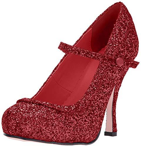 Ellie Shoes Women's 423-Candy Glitter Maryjane Platform Pump, Red, 9 US/9 M US