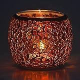 Portavelas de cristal de mosaico de Larcenciel, soporte para velas de té, jarrón, soporte para bolígrafo, romántico hecho a mano de cristal irrompible, para decoración del hogar, bodas, fiestas, Amber