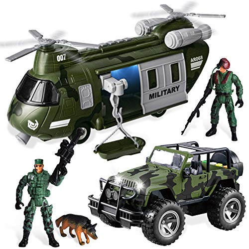 JOYIN Military Vehicles Toy Set of Friction Powered Transport Helicopter and Military Truck with Light and Sound Siren and Army Men Soldier Action Figures for Kids