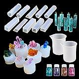 N|A Woohome Moldes Silicona Resina, 24 Pz Silicona Moldes de Joyería Incluyendo 18 Pz Silicona Epoxi Moldes Resina de Cristal y Brillantinas en Polvo de Colores para Hacer Joyas para Resina