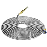 teamoonmy 304 Stainless Steel Metal Garden Hose-Water Hose with Solid Metal Portable & Lightweight Kink Free-50FT Outdoor Hose