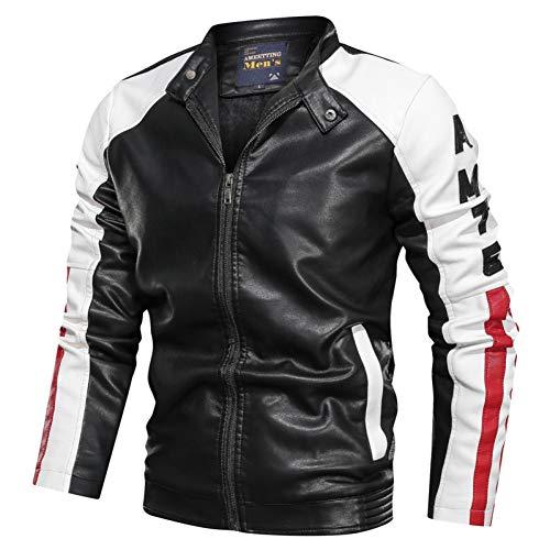 Shangyi Motorjacks, heren, lederen jack en heren, opstaande kraag, brief kunstleer, ritssluiting, street clothing mantel
