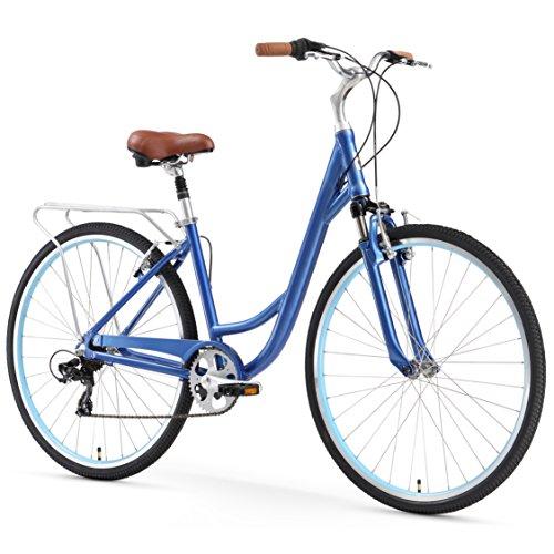 "sixthreezero Body Ease Women's 7-Speed Comfort Road Bicycle, Navy Blue 26"" Wheels/ 17"" Frame"