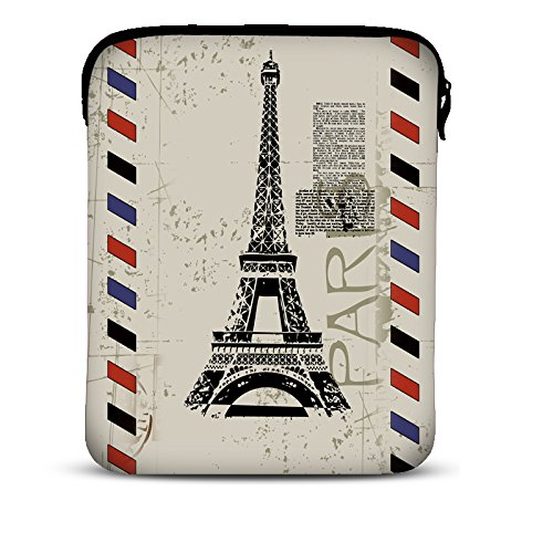 MySleeveDesign 7-7,9 Zoll Tablet Hülle Sleeve Kompatibel Mit Samsung Galaxy Tab 4 7.0 Fire HD Apple iPad Mini Lenovo A7 Acer A1 One 7 Asus Nexus Kindle UVM. - Paris Stamp [7]