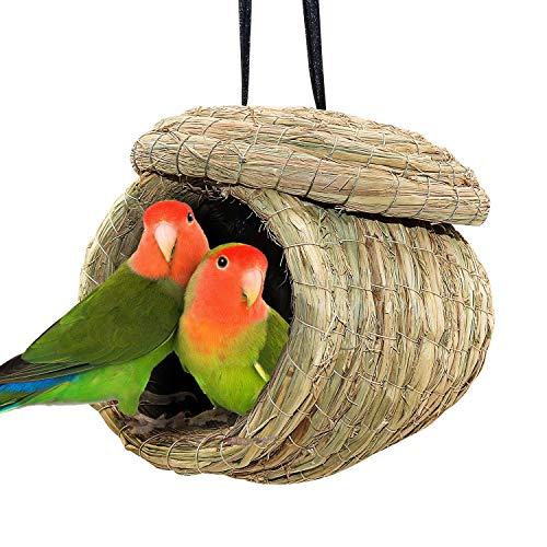 BWOGUE Straw Bird Nest Eco-Friendly Straw Birdhouse 100% Natural Fiber Bird Nest Hut Cozy Resting Breeding Place for Parrots Parakeet Conures Cockatiel,Large