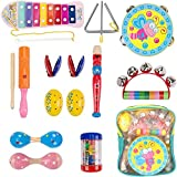 Dkinghome Baby Musical Instruments ,Wooden Toddler Musical Toys Set,Education Toys Gifts with Shaking, Tapping, Beating and Blowing instruments for Kids Boys Girls with Storage Backpack