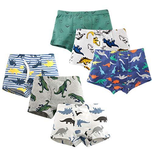 HLMBB Toddler Underwear Boys Boxer Briefs Training Shorts Cotton 2T 3T 4T Dinosaur Shark Baby for Kids Boy 6 Packs Soft Flexible Size 10-12(3.6 Packs-E, 3-4 Years)