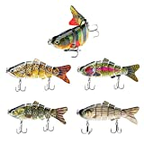 Señuelos Pesca Mar,Cebos Artificiales,Wobblers,Swimbait,Jerkbait Duro,Currican Señuelos Articulados con Anzuelos,Cebo Lucio Lubina Trucha Pez,Agua Dulce,Fishing Lures Kit for Black Bass (5Pcs)